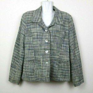 Herman Geist Womens Blazer Tweed Silk Pockets 14P